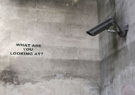 Banksy: CCTV - What Are You Looking At? Graffiti/Street Fine Art Print/Poster. Sizes: A4/A3/A2/A1 (001195)